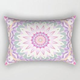 Calypso Mandala in Pastel Pink, Purple, Green, and White Rectangular Pillow