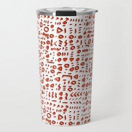 Red and White Abstract Drawn Cryptic Symbols Travel Mug