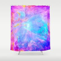nebula Shower Curtains featuring Orion nebulA : Bright Pink & Aqua by 2sweet4words Designs