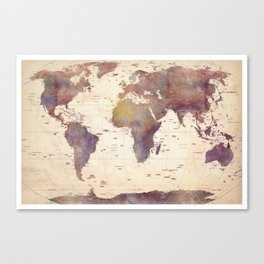 Old Watercolor World Map Canvas Print