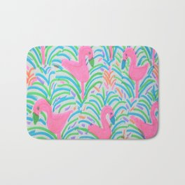 Flamingo Jungle Party Print Bath Mat