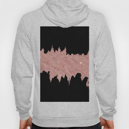 Modern abstract black faux rose pink glitter brushstrokes Hoody