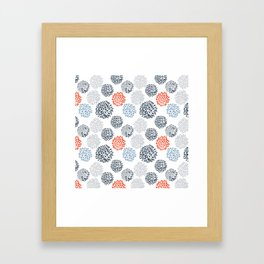 Doodle flowers in red and blue Framed Art Print