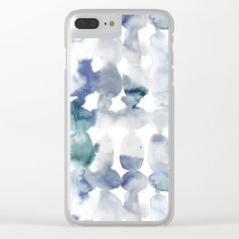 Dye Ovals Blue Green Grey Clear iPhone Case