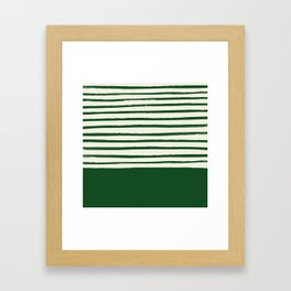 Holiday x Green Stripes Framed Art Print