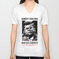 jfk V-neck T-shirts featuring Misfits JFK Poster Series - Head Hits Concrete by Robert John Paterson