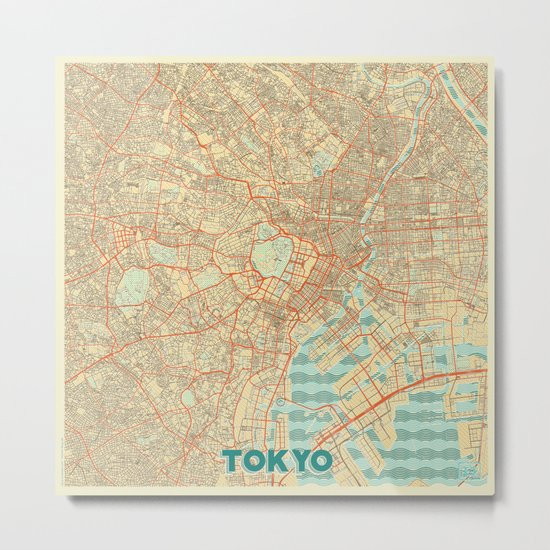 Tokyo Map Retro Metal Print