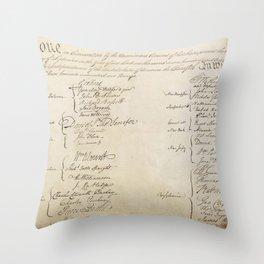United States Constitution Signatures Throw Pillow