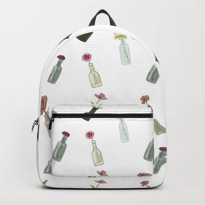the pattern of bottles and flowers Backpack