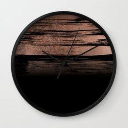 Modern geometric rose gold black brushstrokes Wall Clock