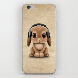 Cute Baby Bunny Dj Wearing Headphones iPhone Skin
