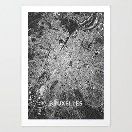 Brussels, Belgium street map Art Print