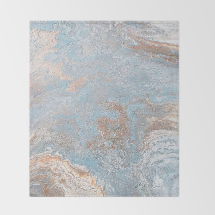 Rose Gold Baby Blue Throw Blanket By Melaniab