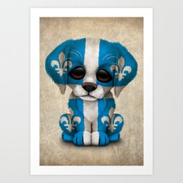 Cute Puppy Dog with flag of Quebec Art Print