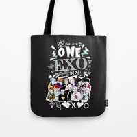 exo Tote Bags featuring EXO WE ARE ONE! BLACK by Haneul Home