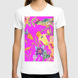 Bold Summer Print on Magenta Pink T-shirt