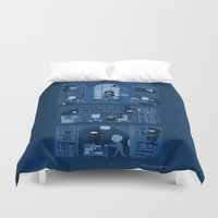 humor Duvet Covers featuring Silence in the Library by Anna-Maria Jung