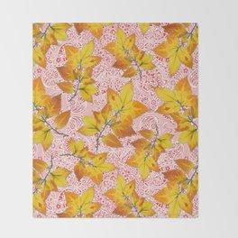 Pink Paisley Autumn Leaves Throw Blanket