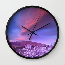 Lenticular clouds over Sierra Nevada and almonds Wall Clock