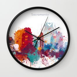 Colorful Sacramento watercolor skyline Wall Clock