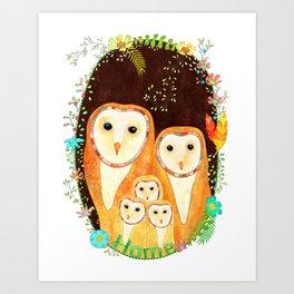 Owl Family Home Art Print