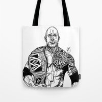 allyson johnson Tote Bags featuring Dwayne 'The Rock' Johnson by Hollie B