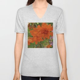Alaskan Summer Flowers in Vibrant Red-Orange Unisex V-Neck