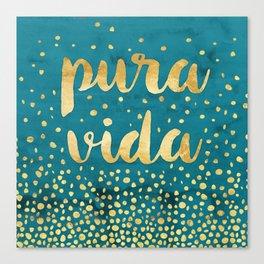 Pura Vida Gold on Teal Canvas Print
