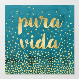 Pura Vida Gold on Teal Canvas Print