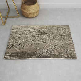 Vintage Pictorial Map of Rochester NH (1884) Rug