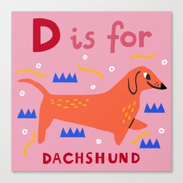 D is for dachshund Canvas Print