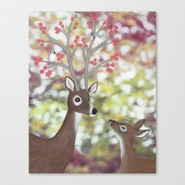 white tailed deer, tufted titmice, & cherry blossoms Canvas Print
