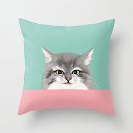 Cheeky Kitty Throw Pillow