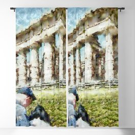 Paestum: tourist painter in front of the temple Blackout Curtain