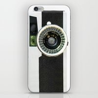 vintage camera iPhone & iPod Skins featuring Vintage camera by cafelab