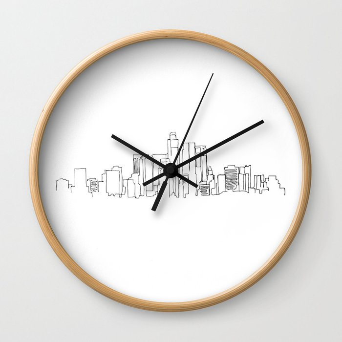 Los Angeles Skyline Drawing Wall Clock