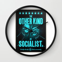 """Vintage """"The Other Kind of Socialist"""" Alcoholic Lithograph Advertisement poster in Blue Wall Clock"""
