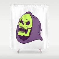 skeletor Shower Curtains featuring Skeletor Evil laugh by Komrod