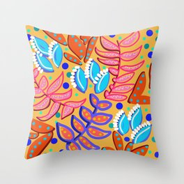 Whimsical Leaves Pattern Throw Pillow