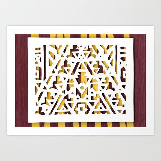 Aztec Pattern Papercut Art Print