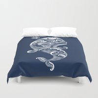 dick Duvet Covers featuring The White Whale  by Peter Kramar