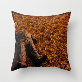 Man Lost in Autumn Leafes Throw Pillow