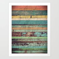 wooden Art Prints featuring Wooden Vintage  by Patterns and Textures