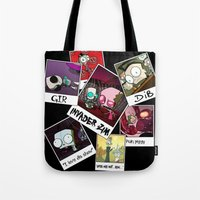 invader zim Tote Bags featuring Invader Zim Photo Collage by kltj11