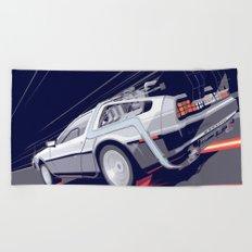Back to the Future Delorean Time travel Artwork Beach Towel