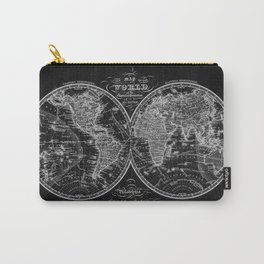 Black and White World Map (1842) Inverse Carry-All Pouch