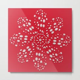 abstract floral element on red background. Christmas motif. Metal Print