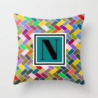 monogram Throw Pillows featuring N Monogram  by mailboxdisco