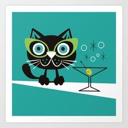 1950s Swank Mid Century Modern Martini Cocktail Kitty Cat Art Print