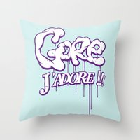 gore Throw Pillows featuring Gore j'adore by Iksoner